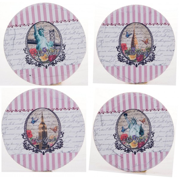 Pink Stripe New York City Statue of Liberty Empire State Building 4 Set Coaster