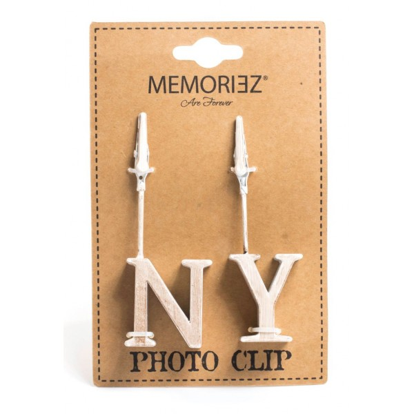 White NY Block Letter Copper Photo Clip Holder
