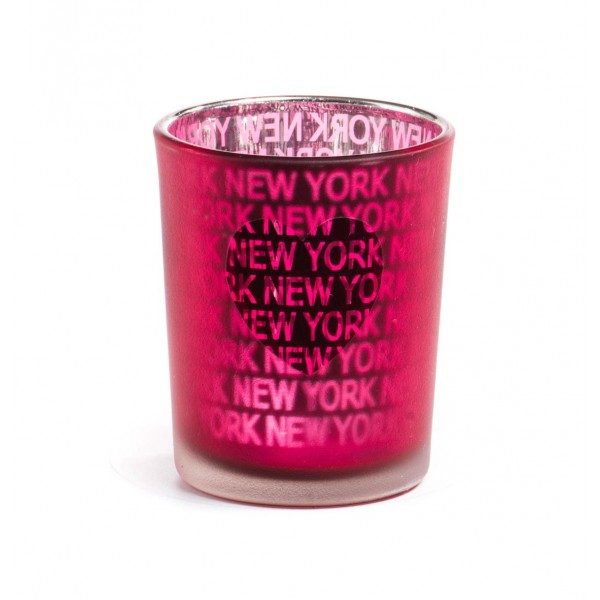 Fuschia Frosted New York Candle Glass