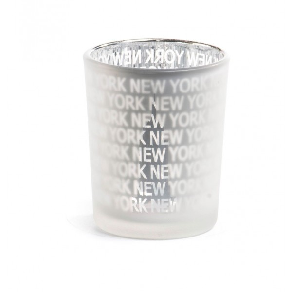 White Frosted New York Candle Glass