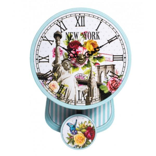 Blue Striped Pendulum Clock