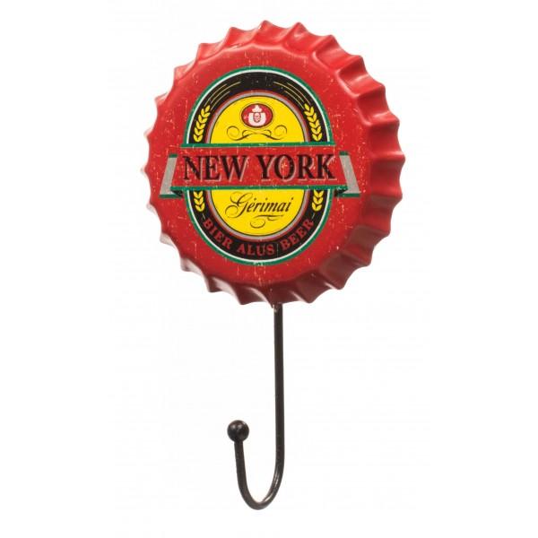 Retro Red New York Beer Cap Hanger